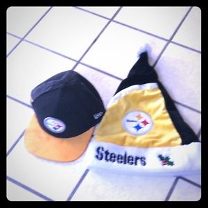 Steelers hat and Santa hat